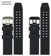 23mm Black Rubber Silicone Replacement Watch Band Strap Luminox Pvd Steel Buckle