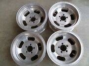 Set Of 4 - Vintage Aluminum Slot 14x7and039and039 Wheels / Rim Truck Pattern 5x4