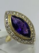 Fine Quality 18ct Yellow Gold 6 Ct Amethyst And Diamonds Marquise Cluster Ring