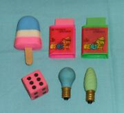 Vintage 1980and039s Eraser Lot Ice Cream Light Bulb Book Dice