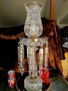Fab Vintage 50and039s 60and039s Cut Glass Crystal Lamp 24tall Ten 9.5spear Cut Crystals