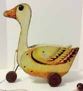Vintage Wooden Goose Pull Toy With 3 Metal Wheels - Size 11 Long X 11 Tall