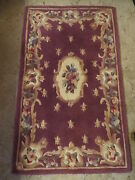 A. Fab Hand Tufted And Carved Oriental Chinese Plum Wool Rug 4and0392 X 2and0396 Flowers