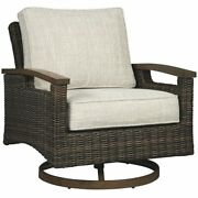 Bowery Hill Swivel Patio Arm Chair In Brown Set Of 2
