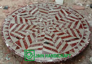 4and039 Dining Coffee Black Marble Table Top Inlay Pietra Dura Work Home Decor Round
