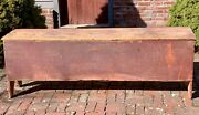 Early Antique Primitive Six Board Blanket Chest Box In Original Red Paint