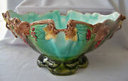Large 1910 Majolica Pottery Footed Center Fruit Bowl W Grape Design