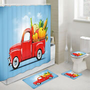 Red Truck And Good Harvest Shower Curtain Toilet Cover Rug Bath Mat Contour Rug