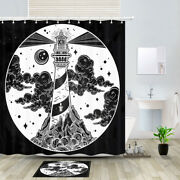 Lighthouse Dark Clouds Waves Shower Curtain Bathroom Decor Fabric And 12hooks 71in