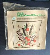 Vintage Crewel Kit By Erica Wilson Pillow Cattails And Jack-o-lanterns