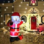 Christmas Inflatables 6ft Santa Claus Led Light Outdoor Yard Decorations Xmas