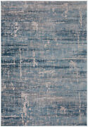 Blue Contemporary Machine Made Scratches Etched Worn Area Rug Abstract Cc5