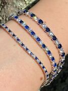 Tennis Bracelet Solid 925 Sterling Silver Single Row Diamond And Blue Sapphire