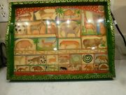 """Rare Cynthia Carey Tray Chic Hand Painted Decoupaged And Laquered 18"""" Wood Tray"""