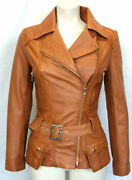 Cara Ladies Womenand039s Tan Vintage Washed Wax Style Designer Real Leather Jacket