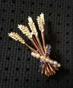 Antique/vintage 14k Yellow Gold Sapphire And Pearl Brooch Pin Victorian Design