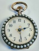 Vintage 1920s French Art Deco Silver Green Enamel With Pearls Pocket Watch