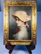 Antique Circa 1900 American Oil On Panel Portrait Of Young Lady Signed 9 X 12