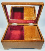 Vintage 1900s Japanese Gold Sparkle Locker Musical Jewelry Box With Mirror