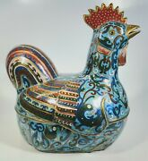 Antique 1920s Chinese Cloisonnandeacute Enamel On Bronze Rooster Box