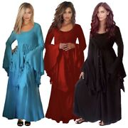 Wiccan Black Maxi Dress - Long Bell Sleeve Smocked Fashion - H9014 Lotustraders