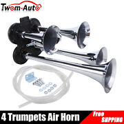 150db Train Air Horn 4 Trumpets Chrome Plated For Truck Car Boat Loud Sound 12v