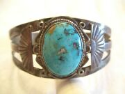 Early And Rare Old Pawn Turquoise And Sterling Silver Cuff Bracelet - Vintage