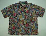 Rare Vtg Aztec Pastel All Over Button Front Camp Shirt 70s 80s Lady L