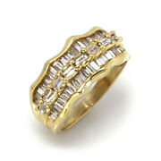 1.5 Ctw Natural Baguette Diamond Solid 14k Yellow Gold Uneven 3 Row Ring 8.5 Mm