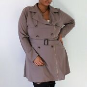 New Perch Trendy Chic Lapel Sash Belted Trench Coat Jacket Plus Size 1xl 2xl 3xl