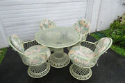 Spun Fiberglass Mid Century Modern Indoor Patio Outdoor Table And 4 Chairs 1634a