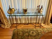 Vintage La Barge Console Table Hoof Feet Brass Glass Mid Century Delivery Avail.