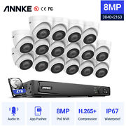 Annke Ultra 4k 8mp Poe Security Camera System With Audio 16ch Nvr Outdoor H.265+