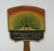 Advertising Hand Fan Vintage 1920s Putnam Fadeless Color Dyes Tints Peacock Nice