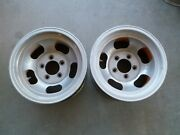 Pair Of Vintage Aluminum Slot 14x7and039and039 Wheels / Rim Truck Pattern 5 X 4 3/4and039and039