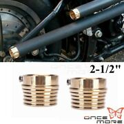 2 Pcs Solid Brass 2-1/2 Groove Style Exhaust Tips For Harley Chopper Custom