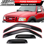 Fits 99-11 Ranger 99-00 Mazda B2500 In Channel Acrylic Window Visors 4 Pieces
