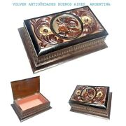 Interesting Antique Wooden Sewing Box Jewel Holder Carved Conqueror Flowers Key