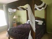 Ethan Allen Country French Queen Canopy Carved Poster Bed 26-5602 236