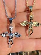 Real Solid 925 Silver Micro Angel Cherub Hip Hop Pendant Gold Necklace Praying