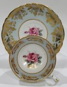 Paragon Large Pink Rose On Baby Blue With Heavy Gold Filigree C1938-52 Mint Cond