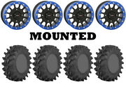 Kit 4 Sti Outback Max 32x9.5-14 On System 3 Sb-5 Beadlock Matte Black Blue Hp1k