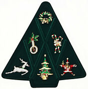 Andnbspvintage Christmas Pin Brooch Set Kenneth Jay Lane Franklin Mint Collection