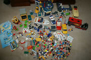 Huge Lot Of Playmobil - Airport Police Station Vehicles Boat Figures Accessories