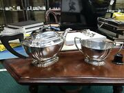 Solid Silver Deco 1928 Teapot And Sugar Basin By Harry Atkin 791 Gram 25.4 Ounce
