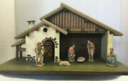 Anri 3 Kuolt Nativity 6 Pc. With Stable, New