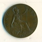 1912 Great Britain One Penny Coin Brown Unc