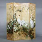 Vintage Antique Style 4 Panel Dressing Screen Room Divider With Herons / Egrets