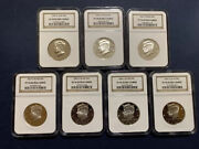 7 Pieces Of Kennedy 50c Ngc Pf70 Ultra Cameo 1999-2007 Clad The Rest Silver