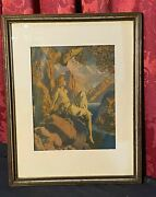 Vintage Antique Maxfield Parrish Print Night Is Fled
